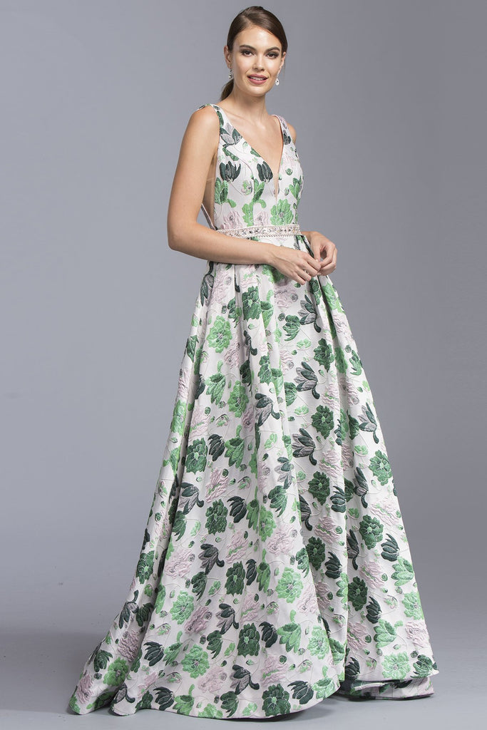 V-neck Long Gown Dresses With Open Back APL2024-Prom Dresses-alwaysprom.com
