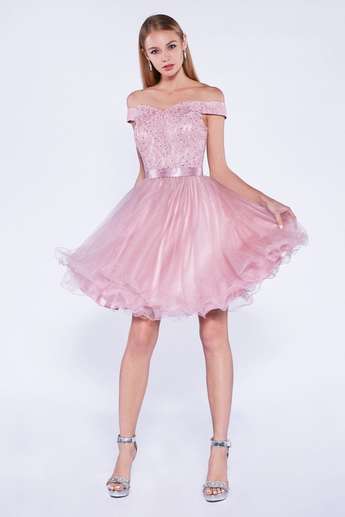 Sweetheart Neckline Off-Shoulder Short Homecoming Dress CD1021