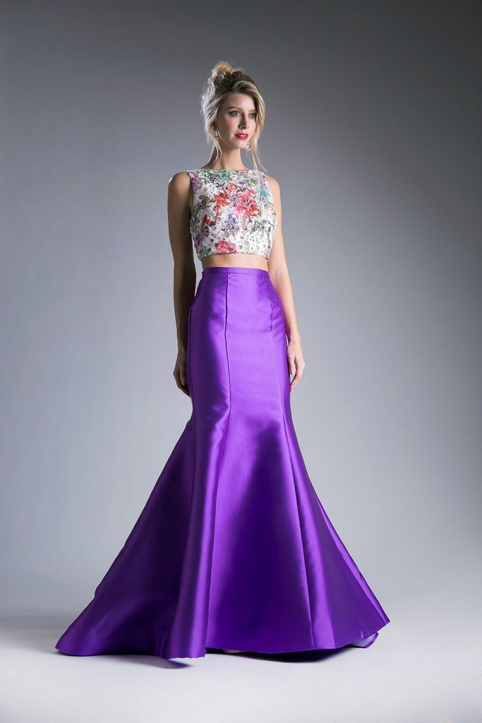 Beaded Lace Mikado 2 Piece Long Mermaid Prom Dress CD12013