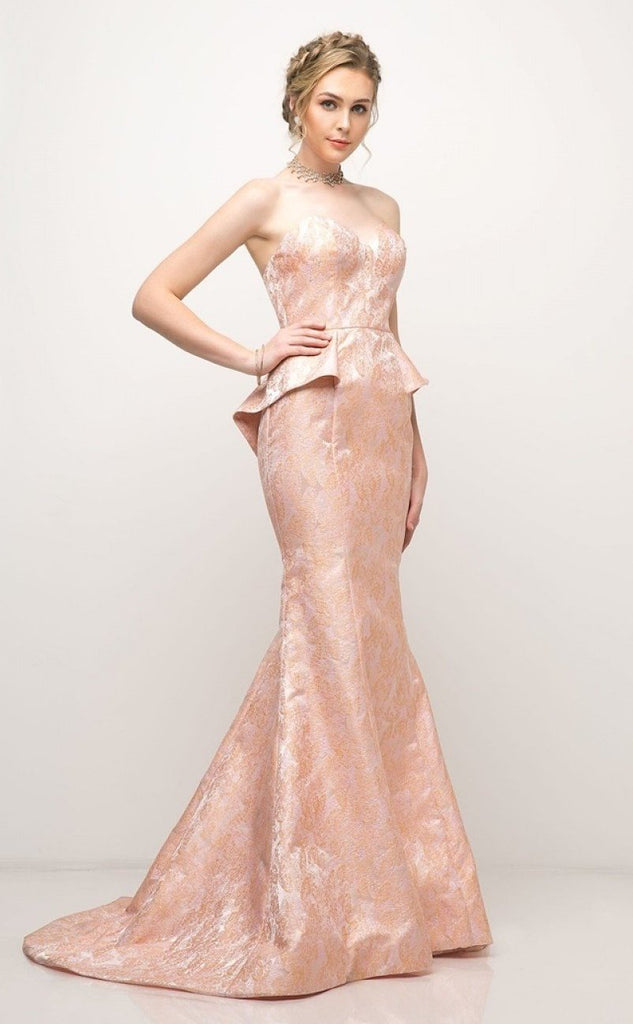 Floral Peach Sweetheart Neckline Mermaid Long Prom Dress CD13312