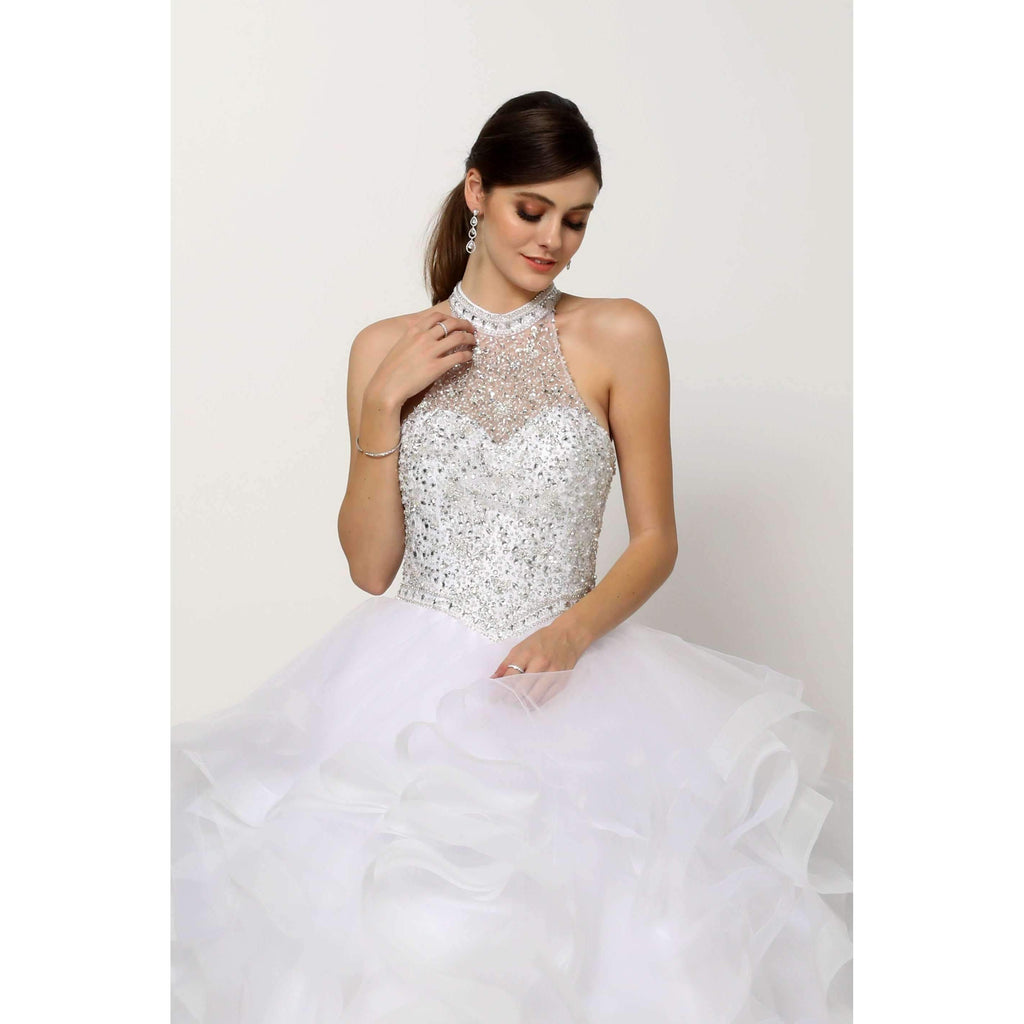 Crystal Beading Flounced Tulle Ballgown Long Wedding DRESS JT1420W
