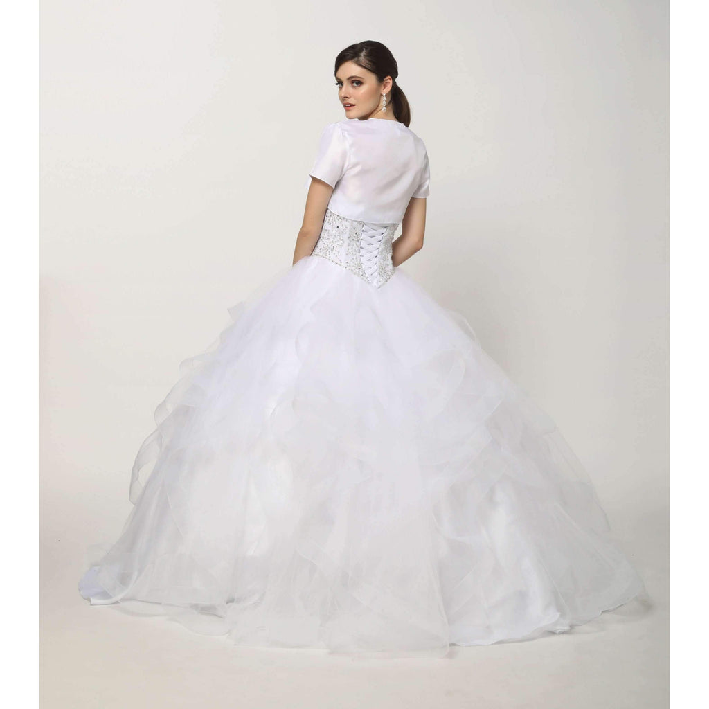 Sweetheart Neckline Beaded Waist Long Ballgown Wedding Dress JT1425W