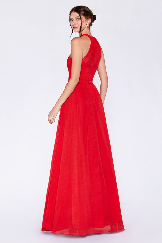High Neckline Sleeveless A-line Long Bridesmaid Dress CD1469