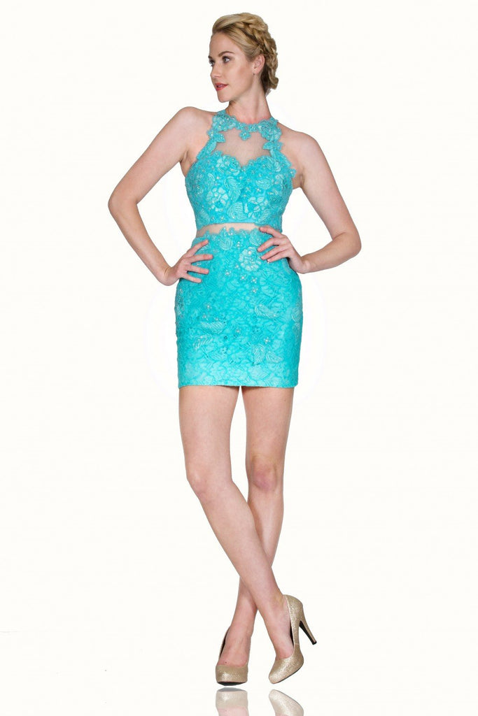 High Illusion Neckline Sheath Short Homecoming Dress CD1586S
