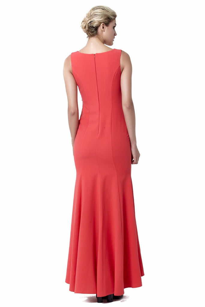 Sleeveless Scoop Neckline Long Red Evening Dress TK6128