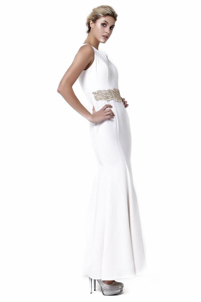 Sleeveless Scoop Neckline Long White Evening Dress TK6128