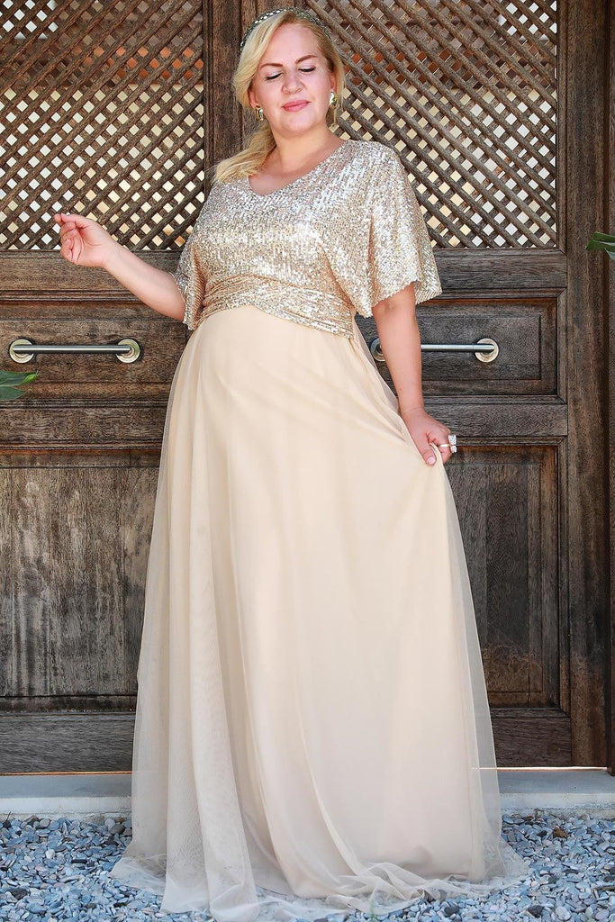 Sequined Short Plus Size Long Evening Dress TKELB0001D8497