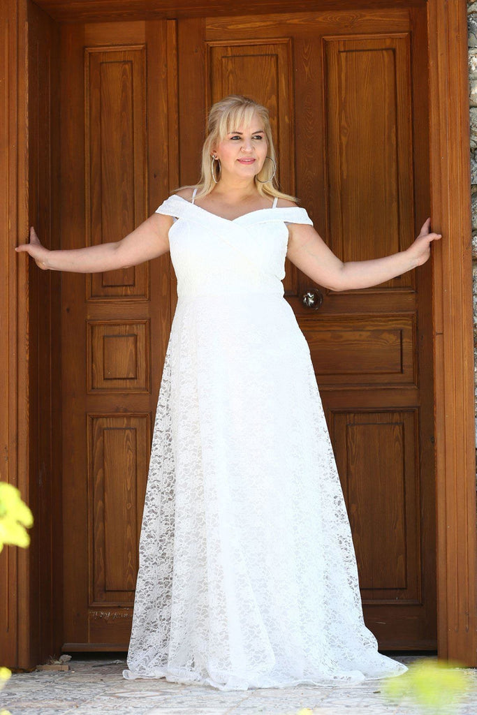 WHITE Off-Shoulder A-line Long Mother of the Brides Dress TKELB0048D3091
