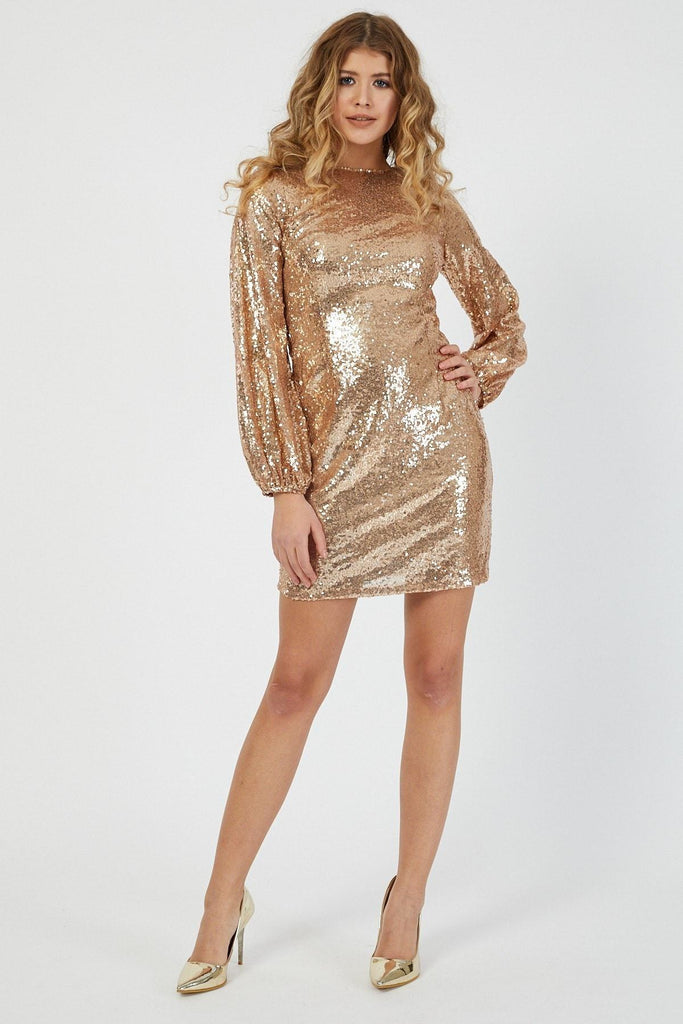 Gold Sequined Short Long Sleeve Dress TK4019