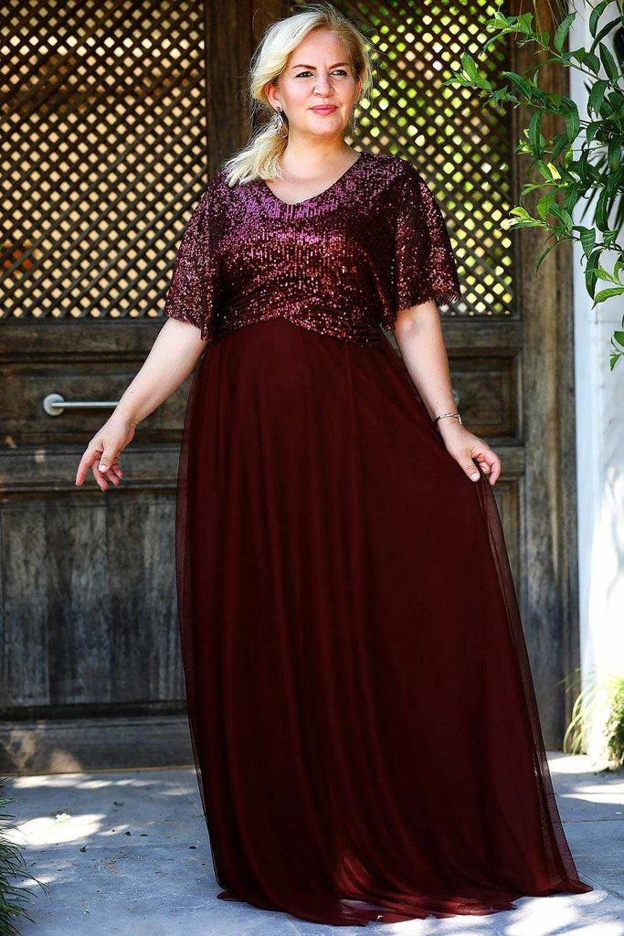 BURGUNDY Sequined Short Plus Size Long Evening Dress TKELB0001D8497