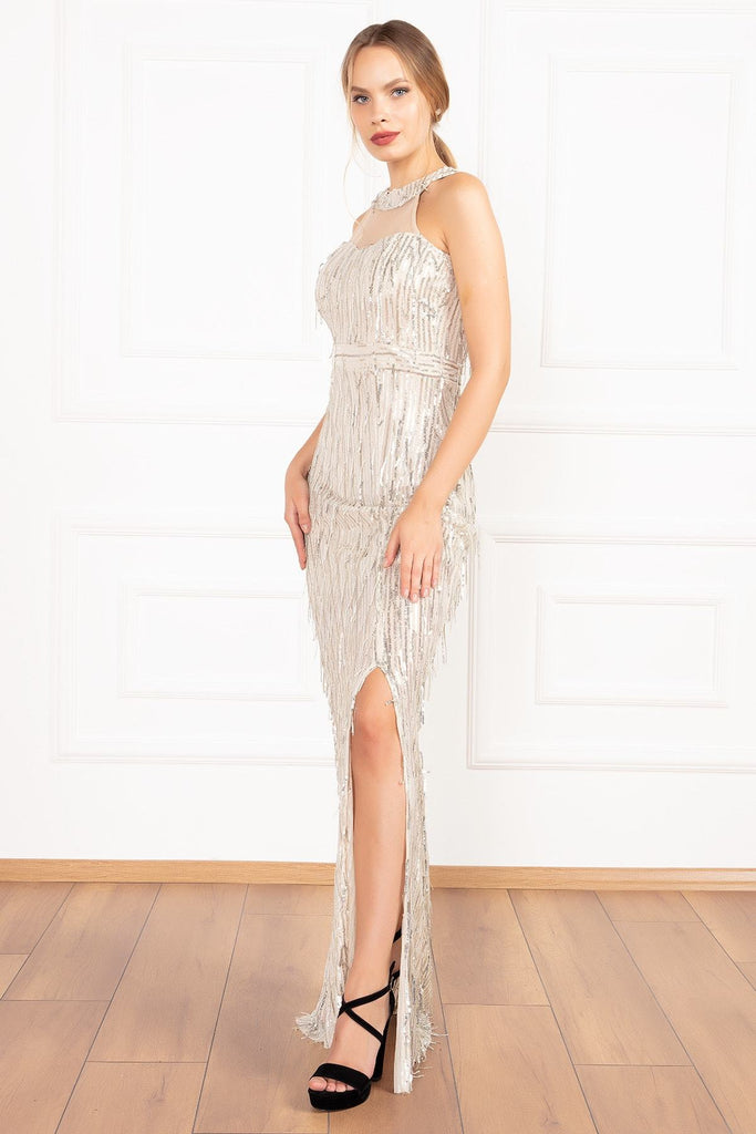 IVORY Beautiful High Neckline Long Sequined Evening Dress TK19Y69105U06