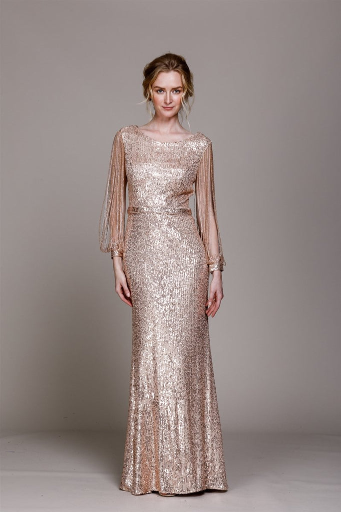 Gold Sequined Long Sleeve Sheath Shape Dress AC2022