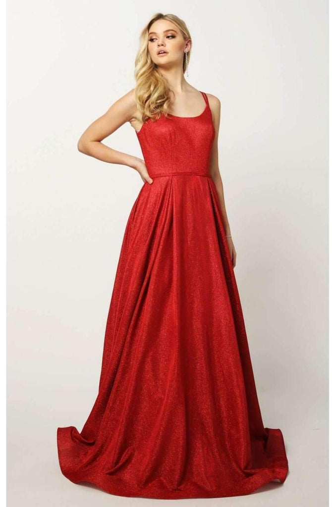 Long A-Line Scoop Neckline Glitter Prom Gown JT206