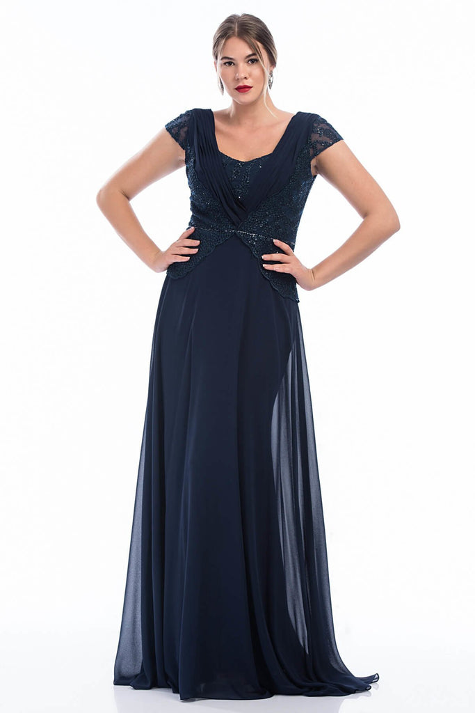 Cap Sleeves Square Neckline A-line Long Evening Dress Plus Size TK4221P