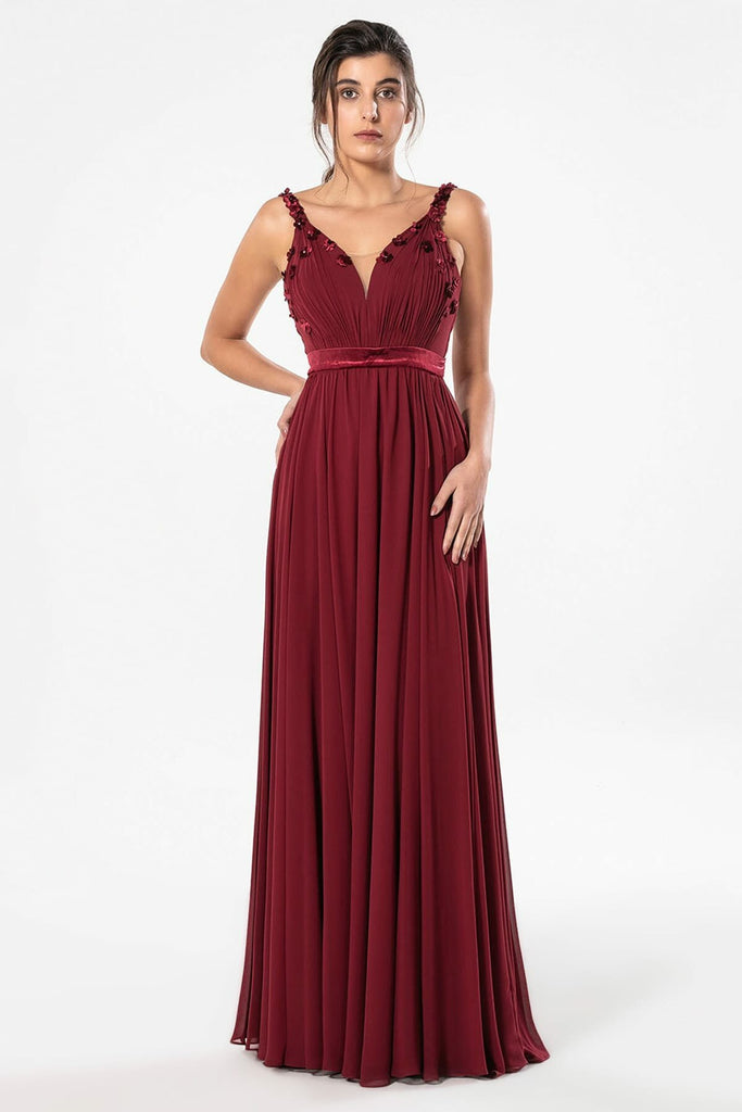 BURGUNDY Sweetheart Neckline Sleeveless Long Navy Dress TK4501FK