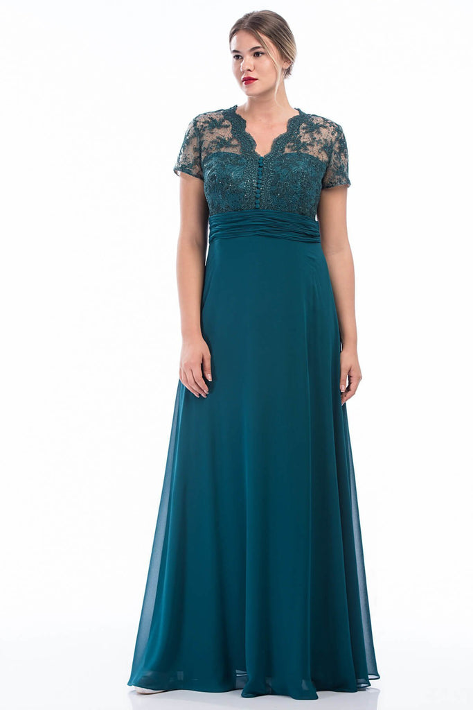 Short Sleeve Patterned Top Long Evening Dress Plus Size TK4417