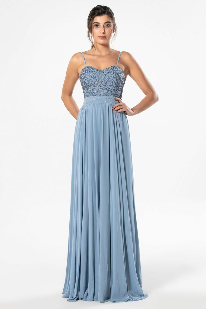 BLUE Sweetheart Neckline Spaghetti Straps Long Dress TK4733F