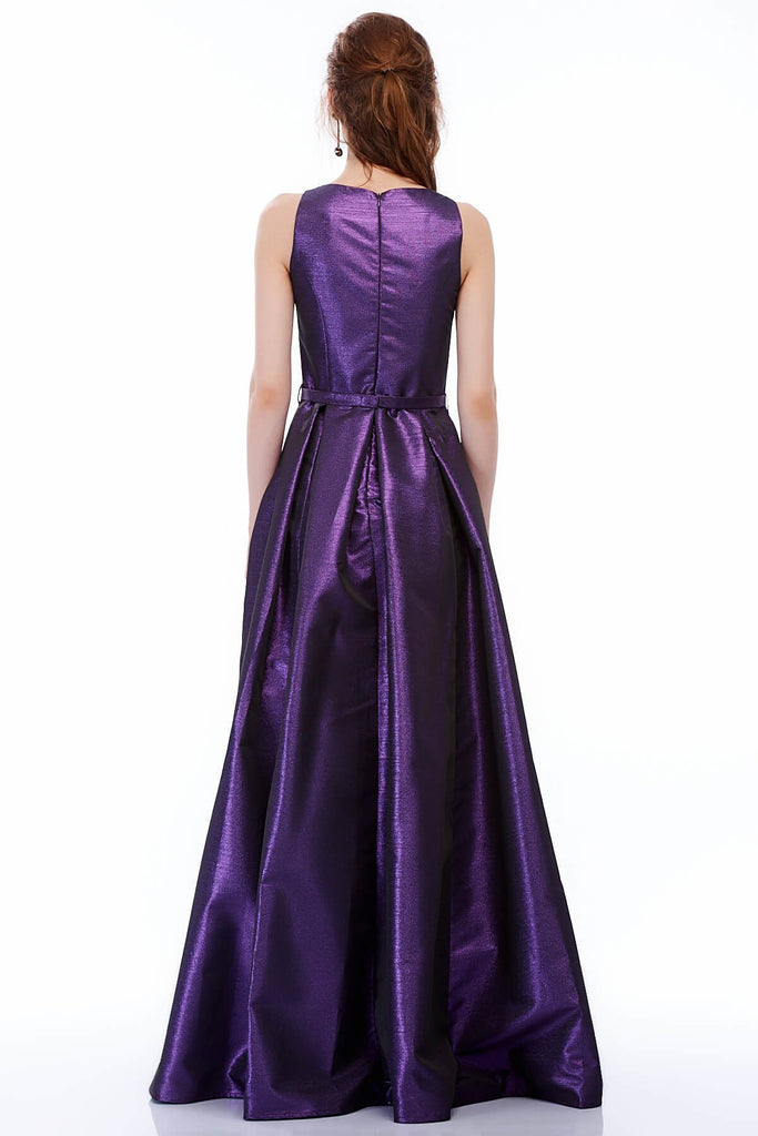 Bateau Neckline Sleeveless A-line Long Evening Purple Dress TK4016T