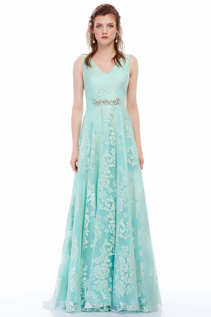 V-Neckline Sleeveless Floral Long Evening Dress TK4117