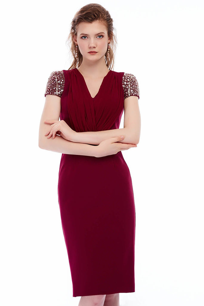 V-Neckline Short Jeweled Sleeves Sheath Evening Red Dress TK4273