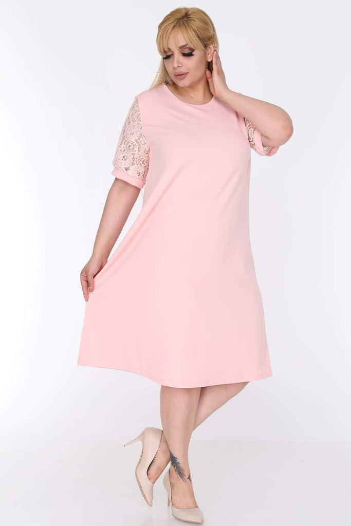Pink  Mother of the Brides Plus Size Short Dress TK22D-0583