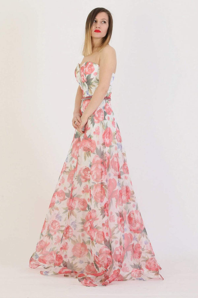 R Floral Print Sweetheart Neck Long Prom Dress TK11243200003001