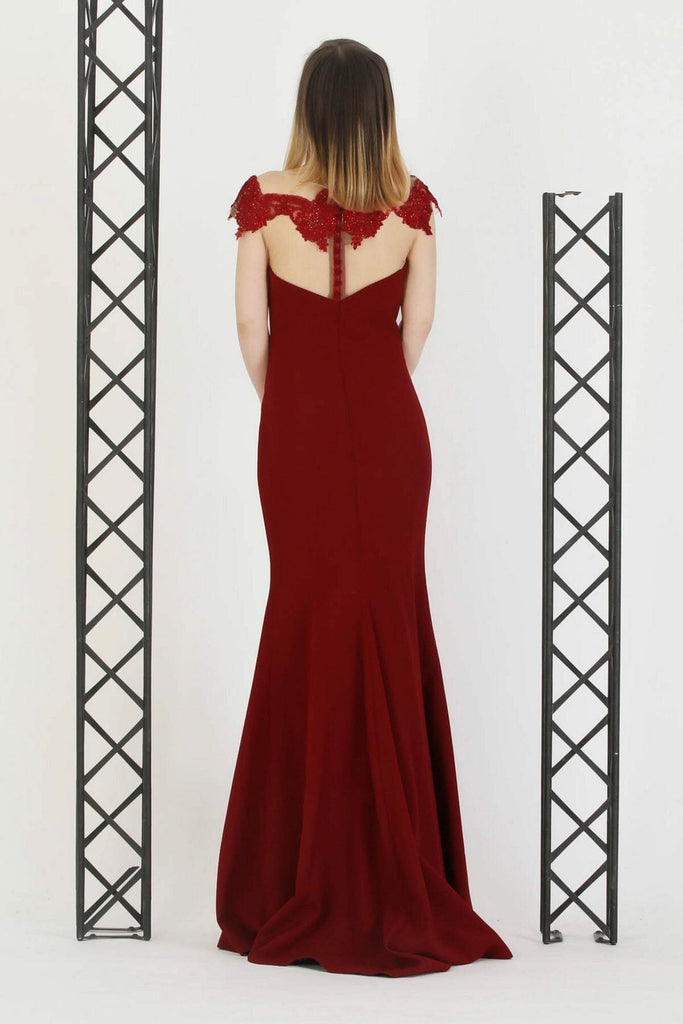 BURGUNDY Illusion Neckline Short Sleeves Long Evening Dress TK11273200002901