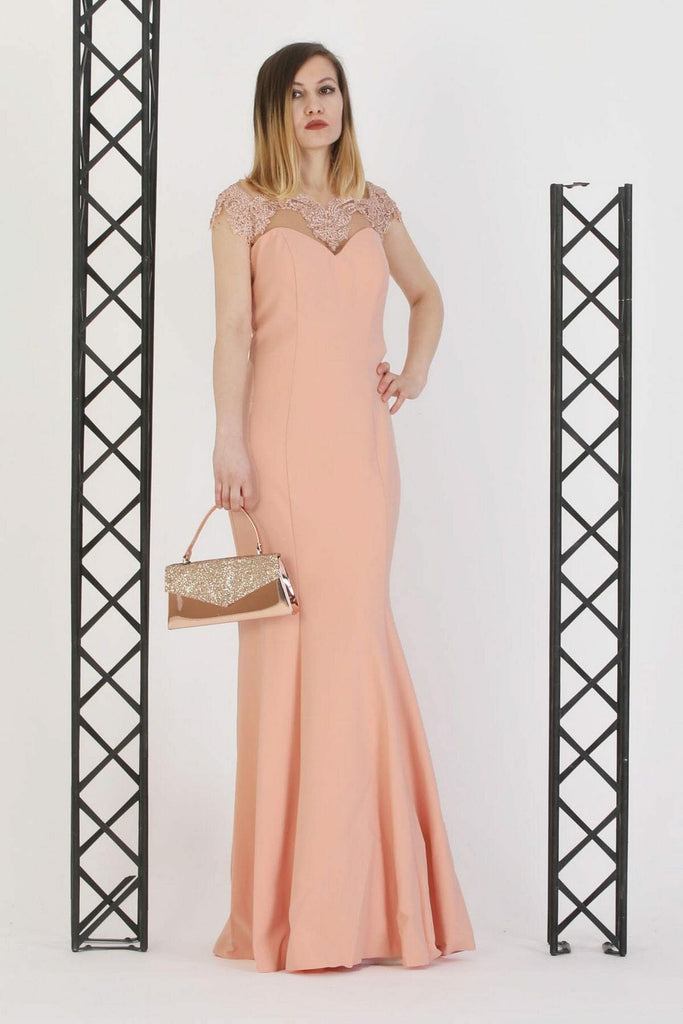 ORANGE Illusion Neckline Short Sleeves Long Evening Dress TK11273200002901
