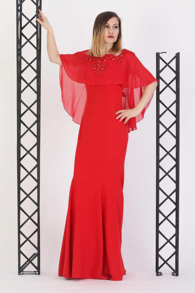 RED Scoop Neckline Lace Sleeves Long Evenign Dress TK11273200004101