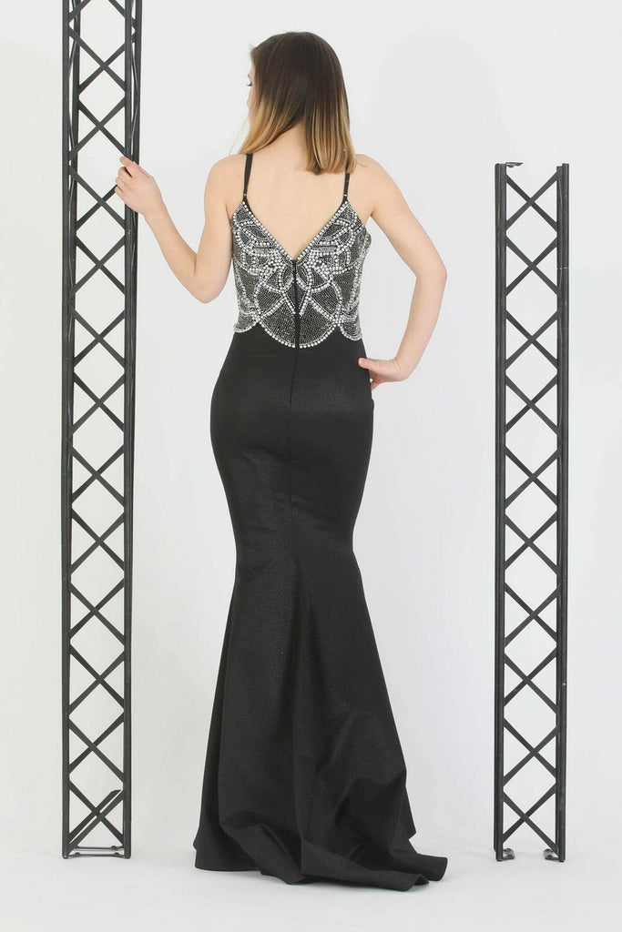 BLACK V-Neckline Beaded Top Long Evening Dress TK11273200004802
