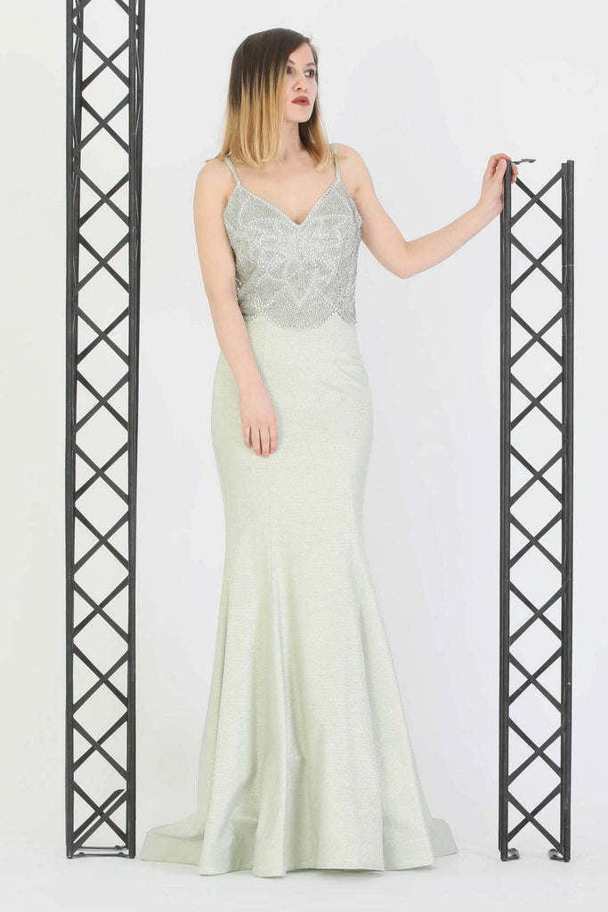 V-Neckline Beaded Top Long Evening Dress TK11273200004802