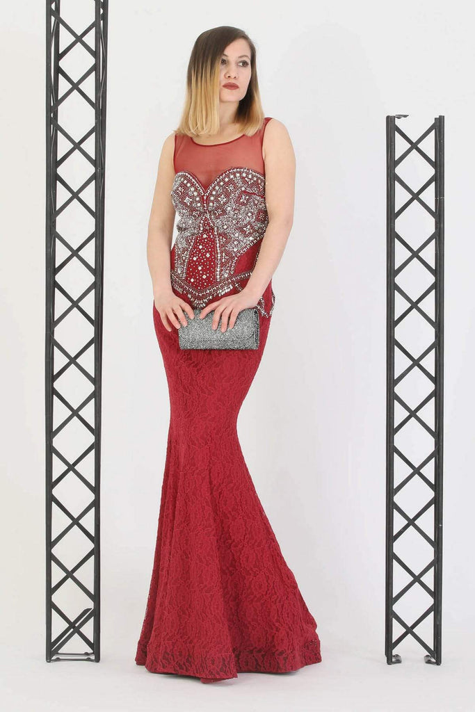 RED Jeweled Illusion Mermaid Evening Dress TK11273200005002