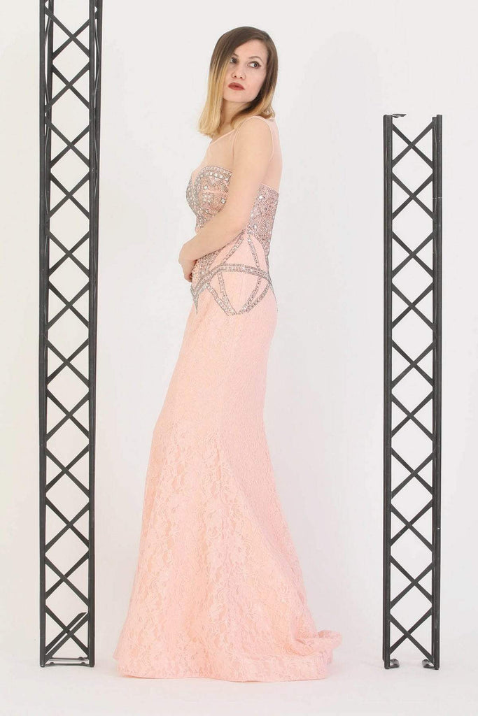 PINK Jeweled Illusion Mermaid Evening Dress TK11273200005002
