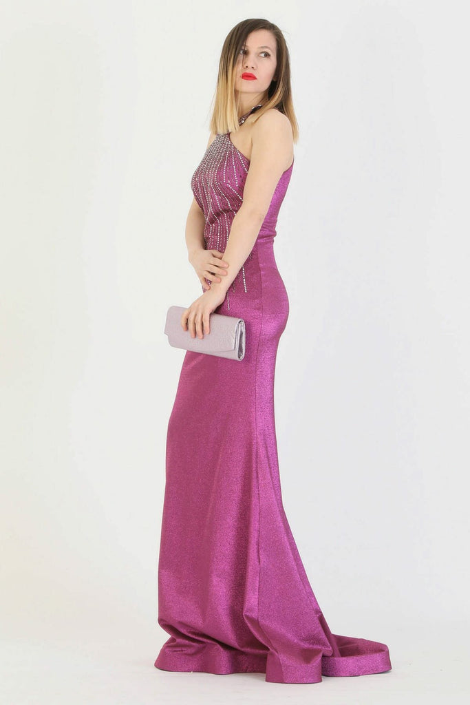 PINK Halter Neckline Sleeveless Beaded Long Mermaid Dress TK11273200005104