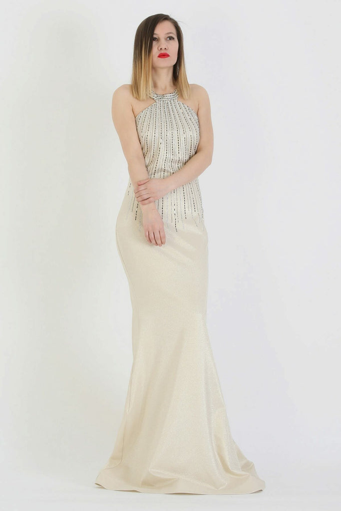 Halter Neckline Sleeveless Beaded Long Mermaid Dress TK11273200005104