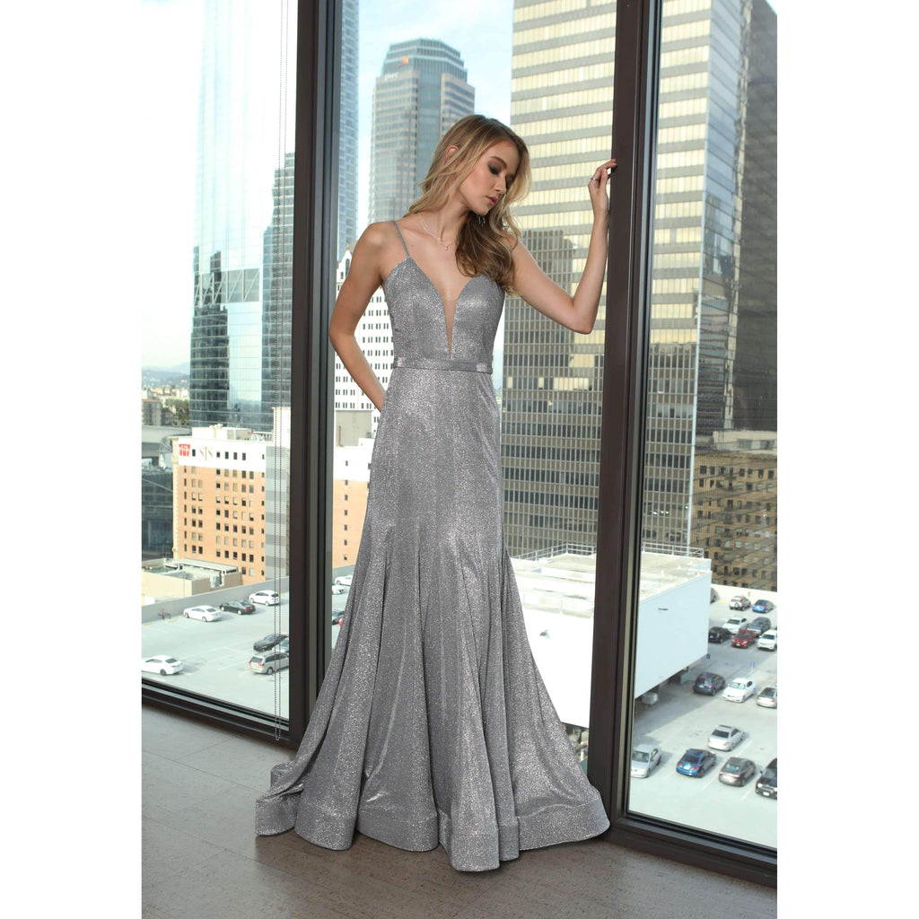 V-Neckline Sleeveless A-Line Long Prom Dress JT207