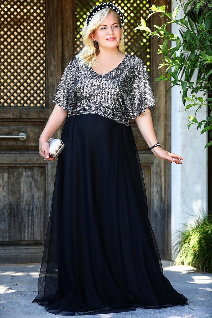 SILVER/BLACK Sequined Short Plus Size Long Evening Dress TKELB0001D8497