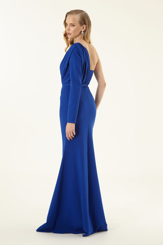 One Shoulder Mermaid Shape Blue Prom Dress TK2633614