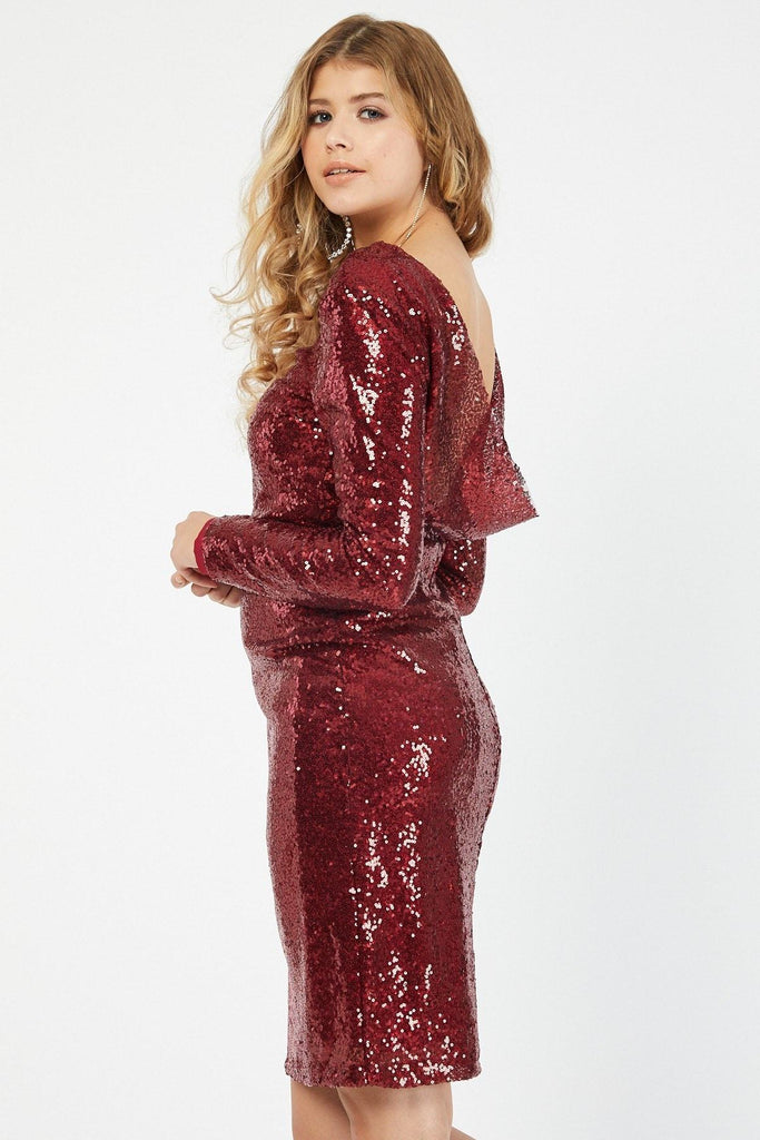 Sequined Red Long Sleeve Midi Length Dress TK4017-4