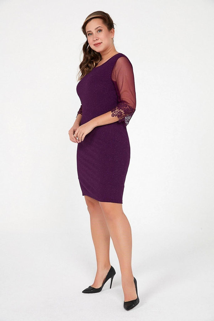 PURPLE Scoop Neckline Short Mother of the Brides Dress TKS-20K0290008