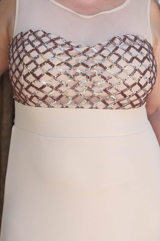 Plus Size Illusion Neckline Sequined Bodice Long Mother of the Bride Dress TKELB000137072