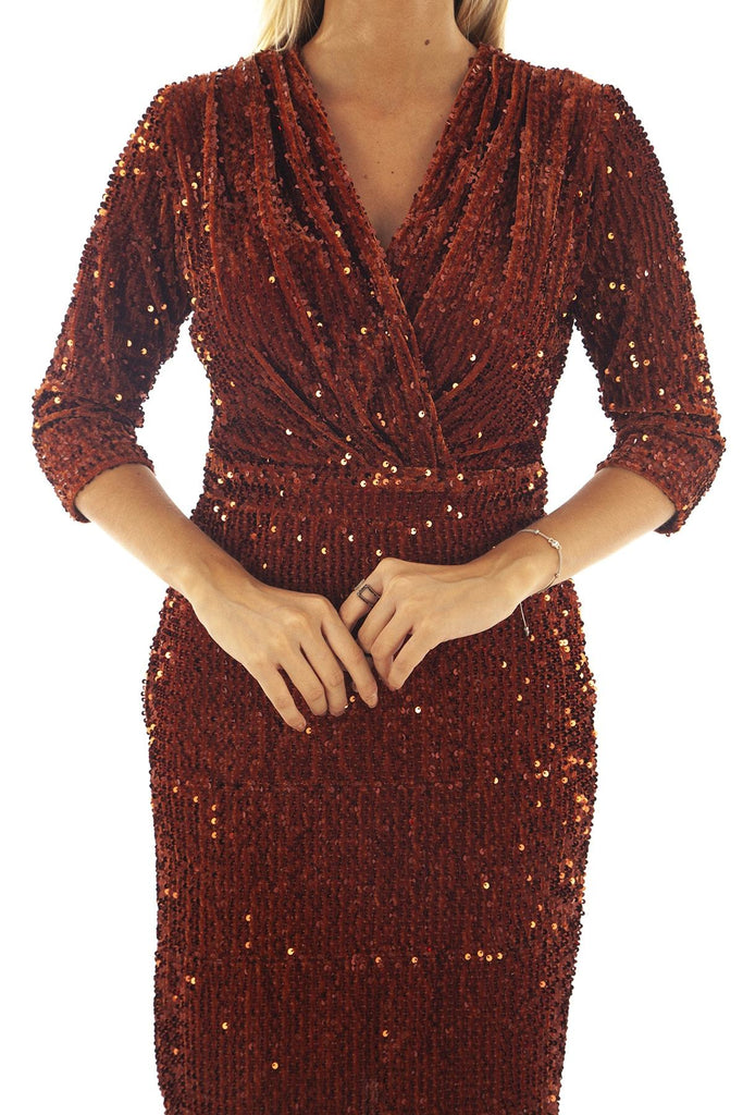 Orange Color Sequined V-Neck Sheath Shape Prom Dress TK9704422