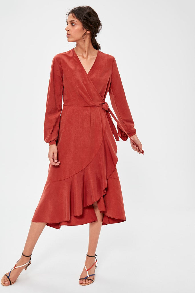 Orange Long Sleeves Evening Midi Dress TKTWOAW20EL1271