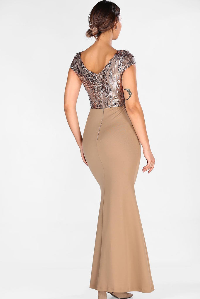 BROWN Sequined Cap Sleeves Mermaid Long Evening Dress TKELB0001D9325