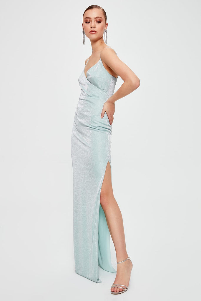 Mint Color V-Neck Spaghetti Strap Leg Slit Long Dress TKTPRSS20AE0002