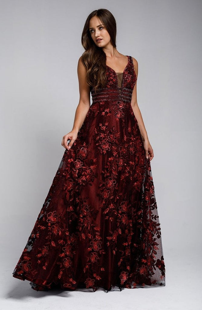 Sleeveless V-Neckline Floral Long Amazing Prom Dress AC3003