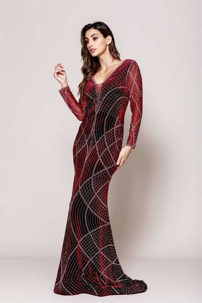 Burgundy Jewel Memaid Shape Open V-Back Long Sleeve Dress AC3005
