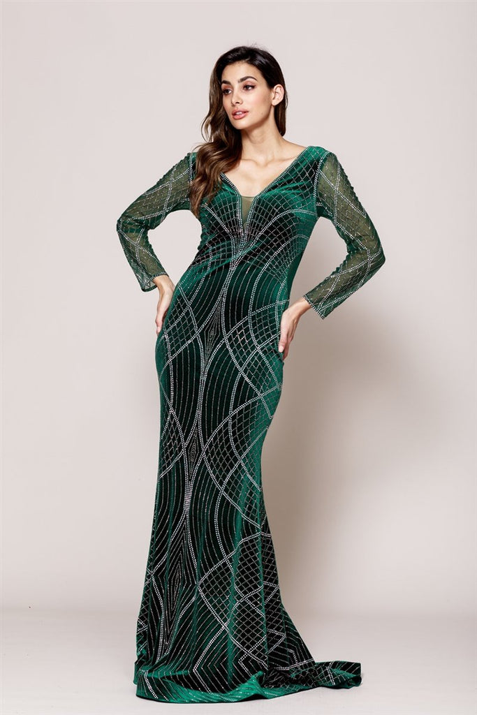 Emerald Green Jewel Memaid Shape Open V-Back Long Sleeve Dress AC3005