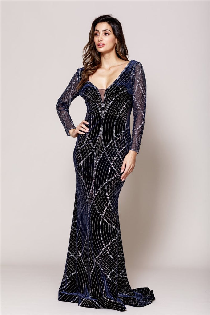Navy Blue Jewel Memaid Shape Open V-Back Long Sleeve Dress AC3005