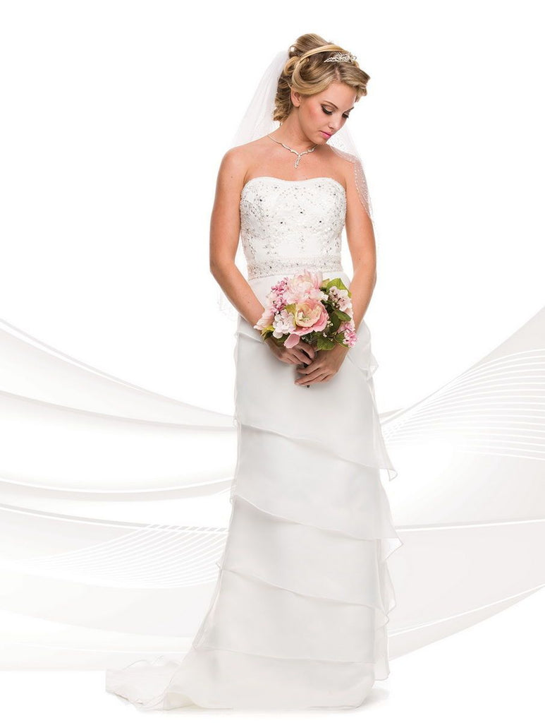 Bateau Neckline Sleeveless Long Wedding Dress JT316